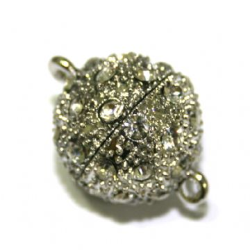 1 x 18mm Round Magnet Clasps Rhodium Plated with Rhinestone- S.FC01